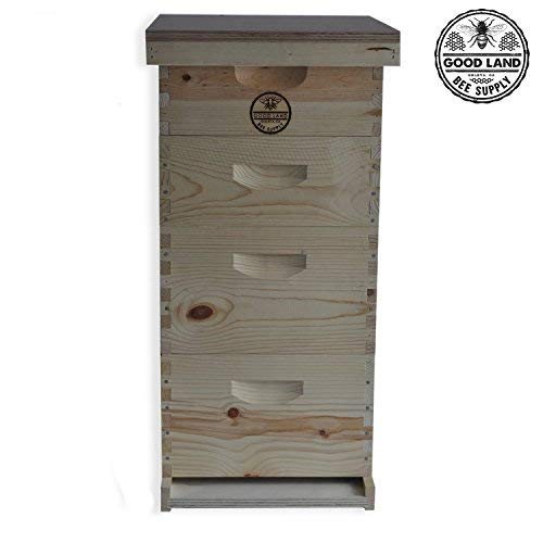 Goodland Bee Supply Double Deep Brood Box and Double Super Box 4 Tier Beginners Beehive Kit With Beehive Frames and Foundations - GL4STACK