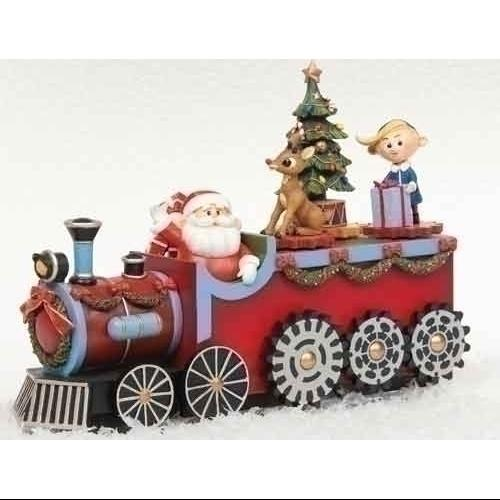"11"" Musical Rudolph the Red Nosed Reindeer Animated Christmas Train Figure"