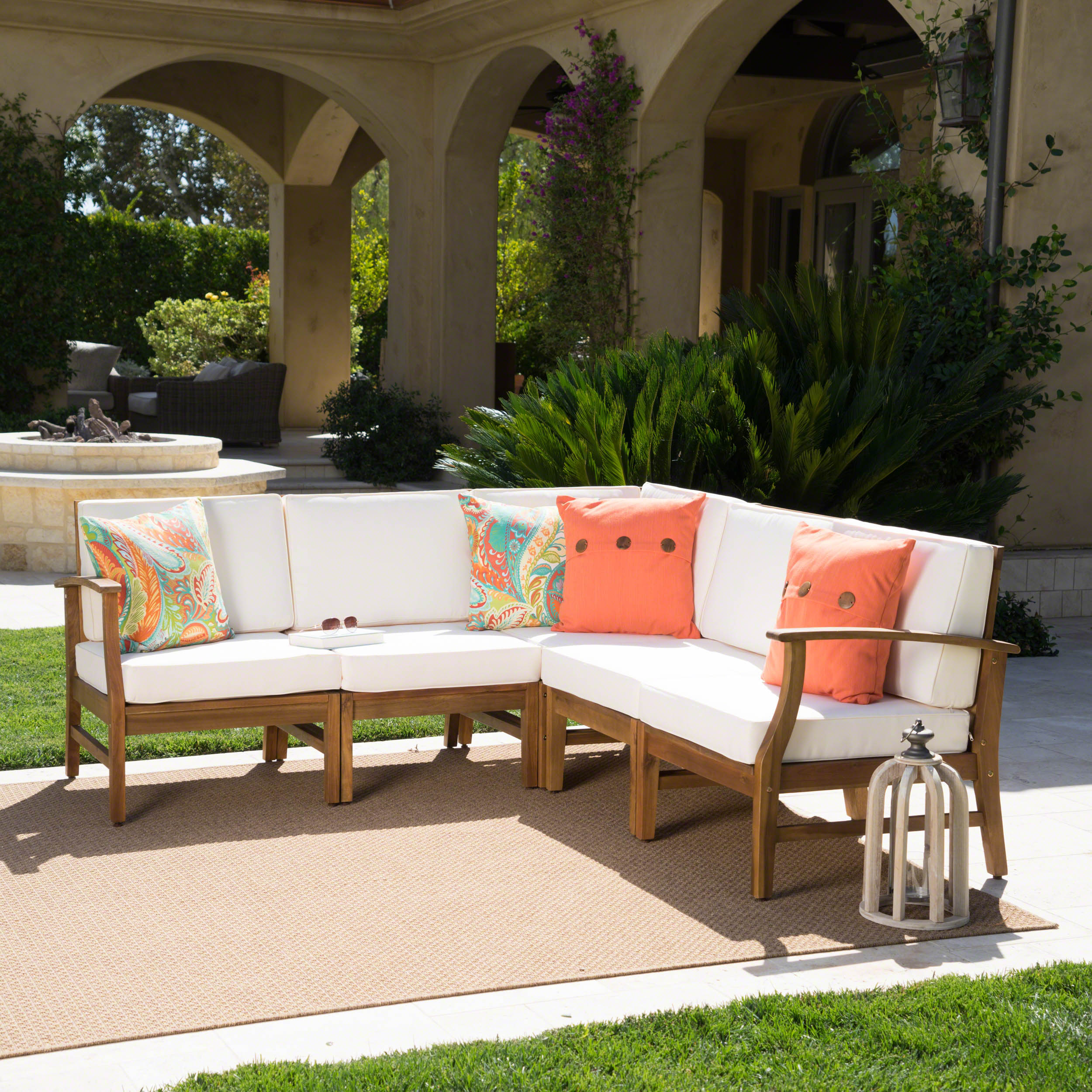 Hermosa Outdoor 5 Piece Chat Set with Cushions (No Coffee Table), Teak Finish, Cream