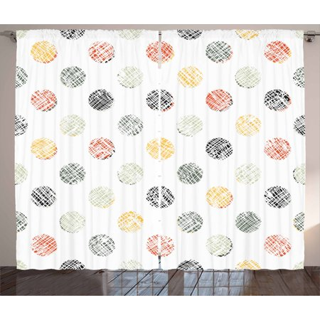 - Polka Dots Curtains 2 Panels Set, Lined Traditional Geometrical Circles Various Color Combinations Abstract Artsy, Window Drapes for Living Room Bedroom, 108W X 90L Inches, Multicolor, by Ambesonne