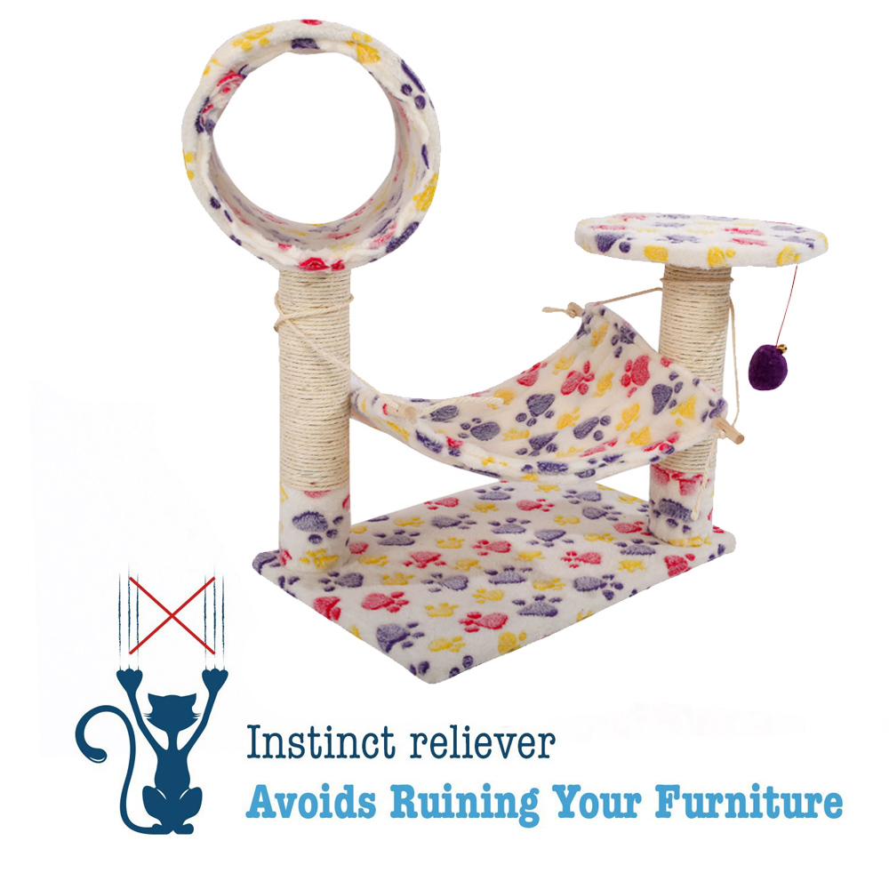 """Zimtown 23"""" Stable Tower Furniture Pet Play House Bed Sisal Cat Climb Holder Cat Tower Colorful Footprints Pet House Toy - image 3 de 7"""