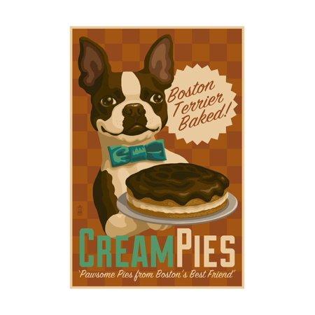 Boston Terrier - Retro Cream Pie Ad Print Wall Art By Lantern