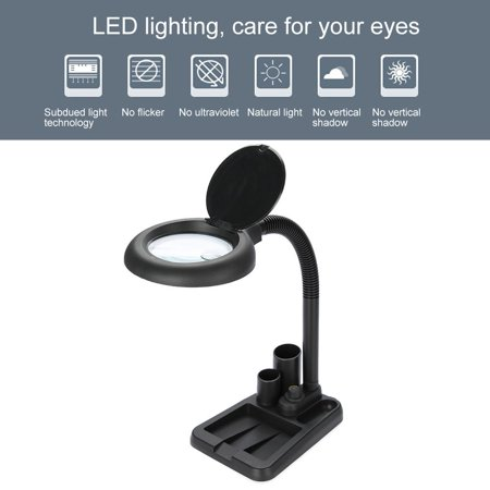 Hilitand Magnifying Glass Table Lamp With 5X 10X Magnifier With 36 LED Lights , Adjustable Magnifier Lamp, Magnifying Glass Light(White, Black)