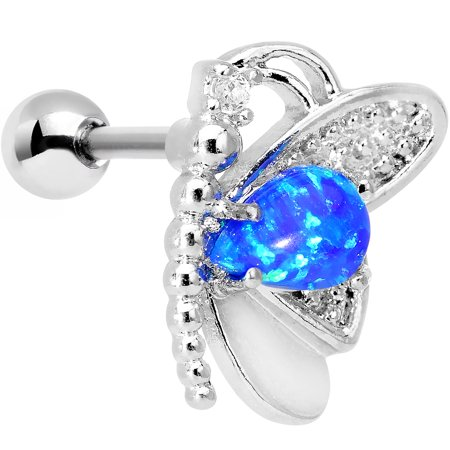 - Body Candy Steel Blue Synthetic Opal Butterfly Right Cartilage Earring 16 Gauge 1/4