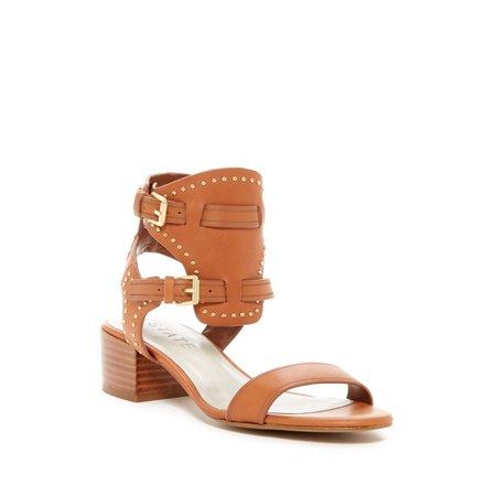 1.State Rylen Tan Leather Golden Studs Chic Low Block Heel City Camuto Sandals