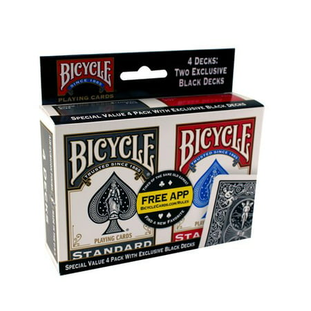Deck Card Designs - Bicycle Playing Card Deck, 4-Pack