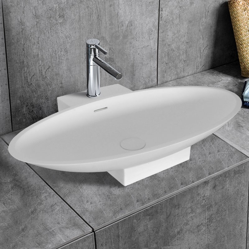 Decoraport White Oval Artificial Stone Above Counter Bathroom Vessel on over counter lighting, over counter lamps, over counter refrigerators, over counter shelves, over counter kitchen sinks, over counter apron sink,