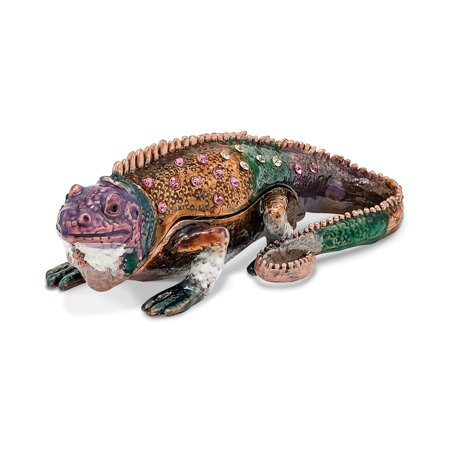 Bejeweled Trinket Box - Bejeweled Pewter Colorful Lizard Trinket Box