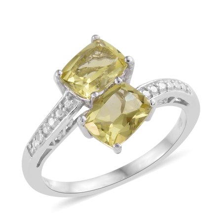 925 Sterling Silver Platinum Plated Cushion Green Gold Quartz Statement Ring for Women Cttw 2.4