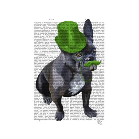 French Bulldog with Green Top Hat and Moustache Print Wall Art By Fab Funky