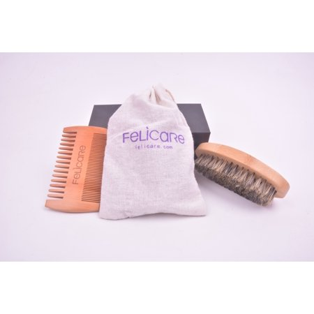 Felicare Beard Brush and Pearwood Comb Set for Men - Handmade Pearwood Comb and Natural Boar Bristle Beard Brush set for Men Beard & Mustache - Cotton Gift Bag](Mustache Gifts)