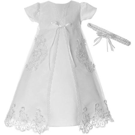 Newborn Baby Girl Organza Christening Gown w Removable Embroidered Sheer Coat & Floral Headband Christening Sheer Dress