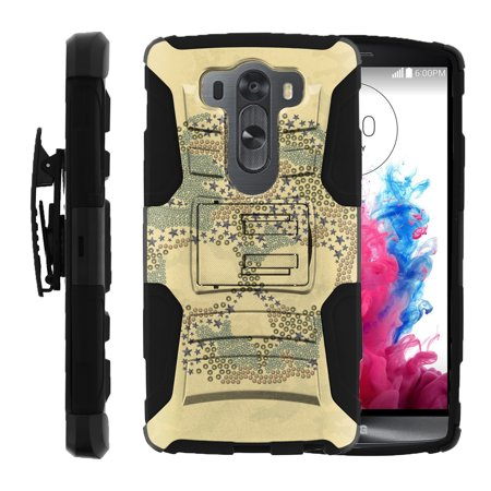 LG V10 and LG G4 PRO Miniturtle® Clip Armor Dual Layer Case Rugged Exterior with Built in Kickstand + Holster - Pattern Skull ()