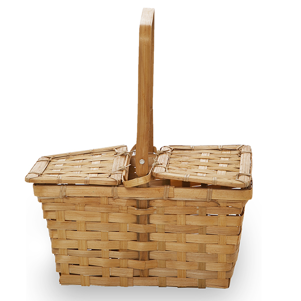 Rect Bamboo Weave Picnic Basket with Lid Small - Honey 10in