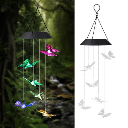 LED Solar Butterfly Wind Chimes Outdoor - TSV Waterproof LED Changing Light Color Wind Chime, Six Butterfly Wind Chimes Light Hanging Lamp for Home, Party, Night Garden Decoration - Glass Butterfly Garden