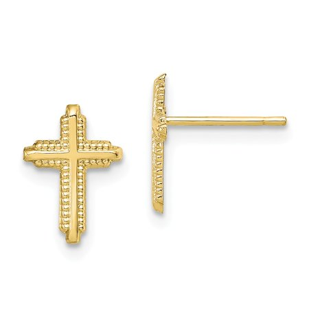 Roy Rose Jewelry 10K Yellow Gold Polished Cross Post Earrings