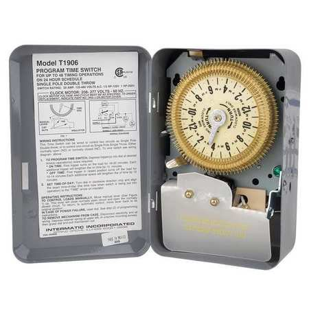 Intermatic Electromechanical Timer, 24-Hour, Multioperation, T1906