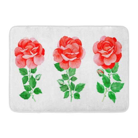 GODPOK Handpainted Watercolor Beautiful Roses 3 Lovely Clipart Your Project Wedding Birthday Bouquets Wreaths Rug Doormat Bath Mat 23.6x15.7