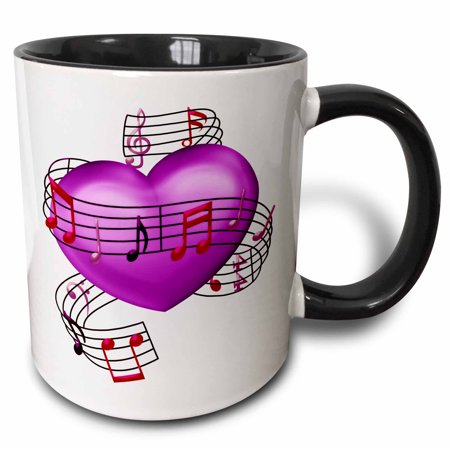 3dRose Pink, Purple, and Pink Musical Notes Wrapped Around A Heart Illustration - Two Tone Black Mug, 11-ounce