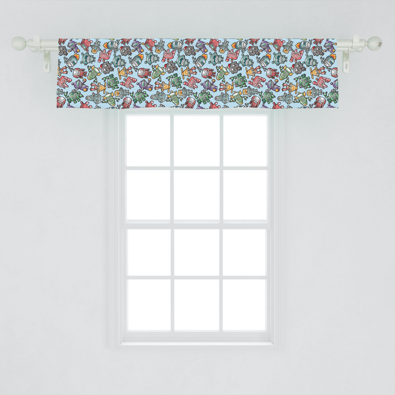 Robot Window Valance Humorous Cartoon Style Toys Science Fiction Themed Illustration Cyborg Playthings Curtain Valance For Kitchen Bedroom Decor With Rod Pocket By Ambesonne Walmart Com Walmart Com