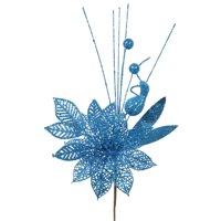 """Vickerman 14"""" Turquoise PoinsettiaBall Pick 12/Bag"""