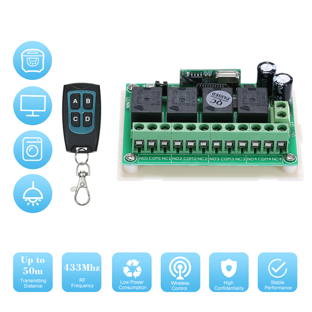 Dc 12v 4ch Channel 433mhz Wireless Rf Switch Long Range Wireless Remote Control Switch Dc12v Rf Relay Receiver Module Transmitter Toggle Switch 1527 Chip Smart Home Automation 1 Transmitter 1 Recei Walmart Canada