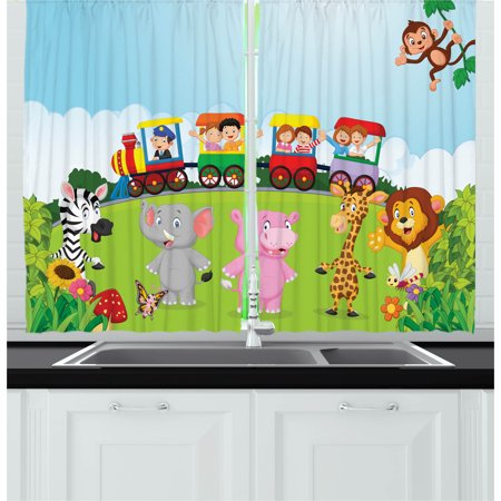 Cartoon Curtains 2 Panels Set, Kids Nursery Design Happy Children on a Choo Choo Train with Safari Animals Artwork, Window Drapes for Living Room Bedroom, 55W X 39L Inches, Multicolor, by Ambesonne