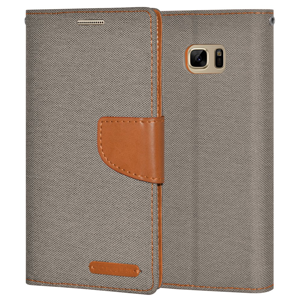 Premium Canvas Pocket Wallet Credit Card Holder Flip Case Folio Cover for Samsung GALAXY Note7 N930 - Grey