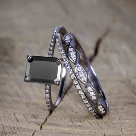 1.50 Carat Moissanite cut Black Diamond Trio Wedding Ring Set for Women in Black Gold