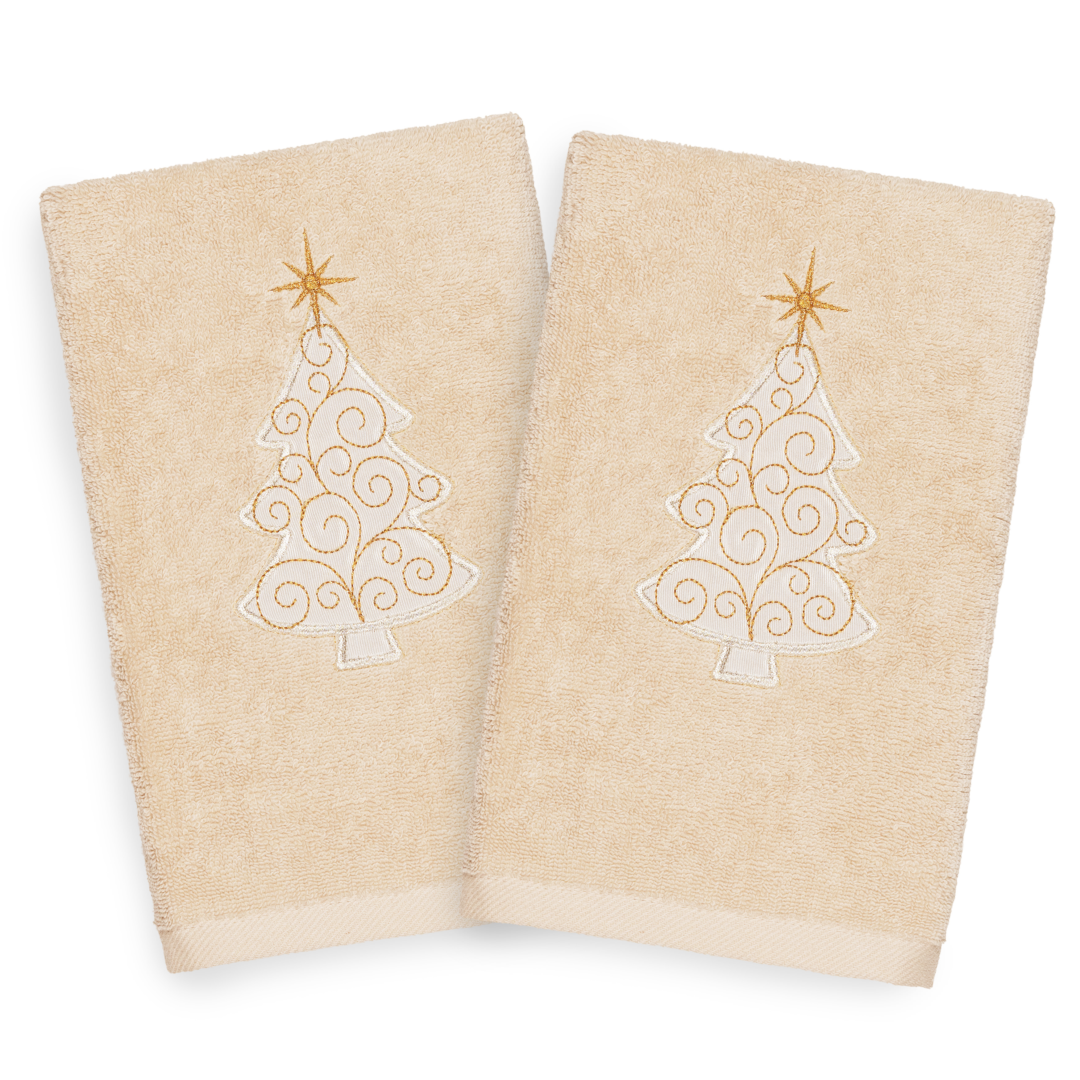 Christmas Kitchen Towels At Walmart: Linum Home Christmas Scroll Tree Party Embroidered Beige