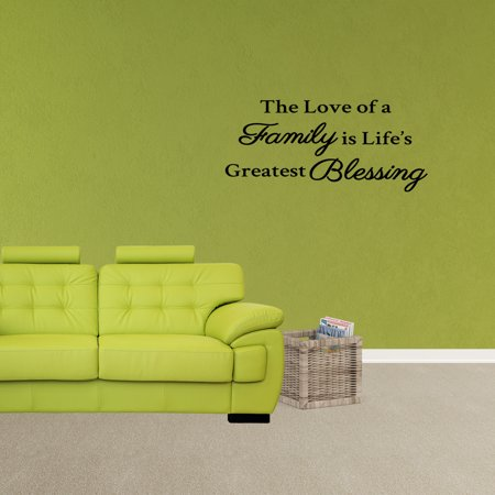 Wall Decal Quote The Love Of A Family Is Life's Greatest Blessing Vinyl Sticker Family Wall Decor PC717