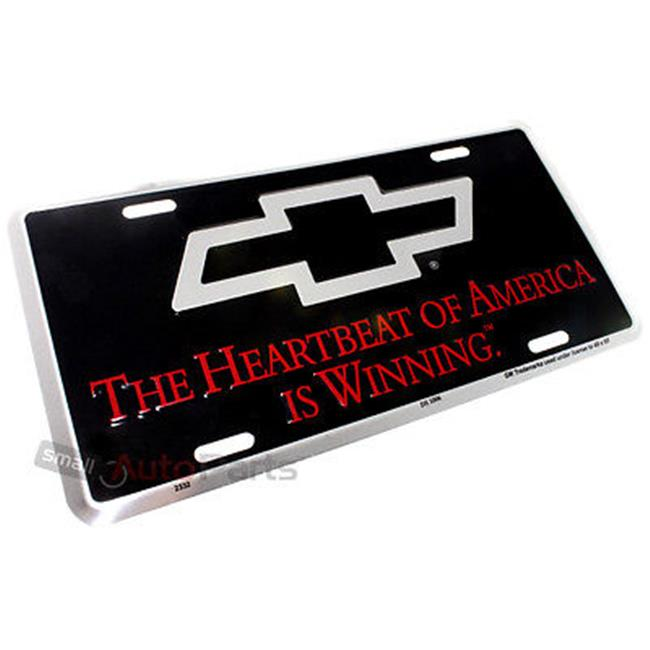 SmallAutoParts Aluminum License Plate - Heartbeat Winning Chevrolet