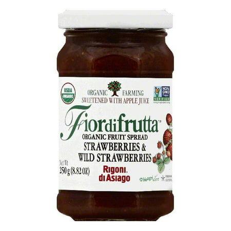 Rigoni Di Asiago Strawberries & Wild Strawberries Organic Fruit Spread, 8.82 OZ (Pack of 6) - Organic Jello