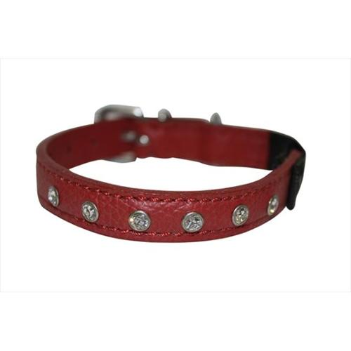 Leather Rhinestones Bling Elastic Break-Away Cat / Kitten Collar (Athens). 10 X 1/2, Valentine Red