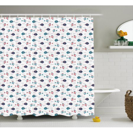 Fish Shower Curtain Pattern Of With Stripes And Fin Simple Underwater Marine Composition Fabric Bathroom Set Hooks 69W X 75L Inches Long