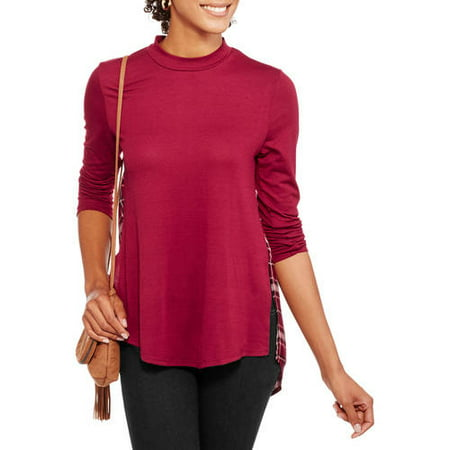 Image of Juniors' Mock Neck Top with Contrast Plaid Back