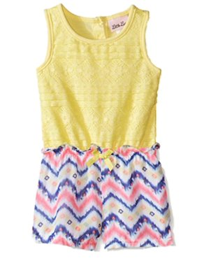 Little Lass Infant & Toddler Girls Yellow Lace Chevron Romper Outfit