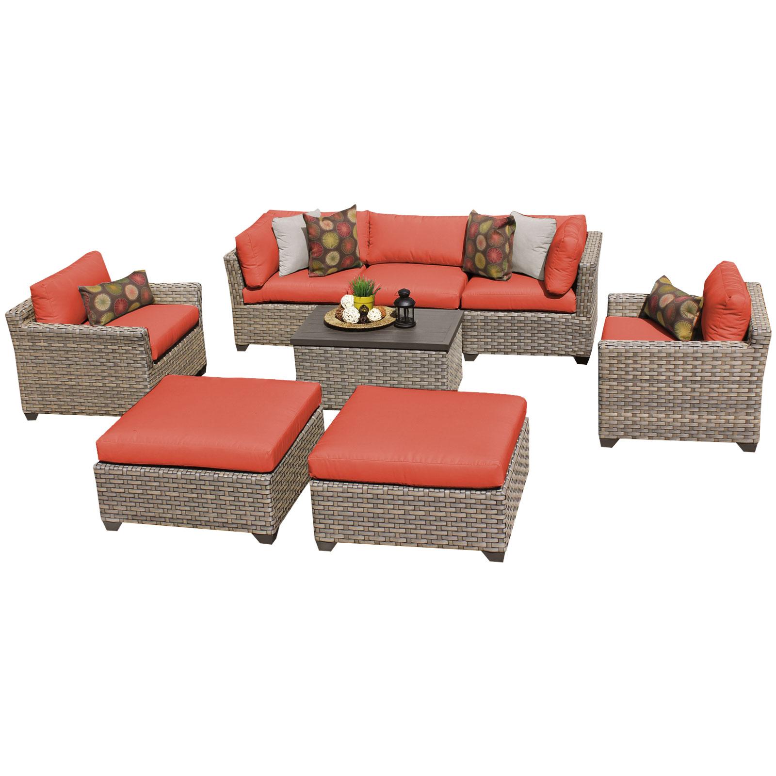 Hampton 8 Piece Outdoor Wicker Patio Furniture Set 08a Walmart