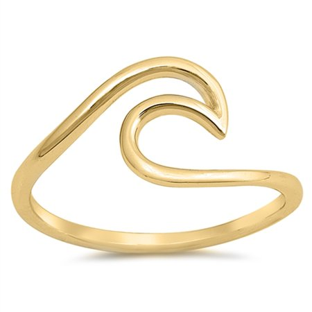 CHOOSE YOUR COLOR Gold-Tone Wave Modern Statement Ring New .925 Sterling Silver Band