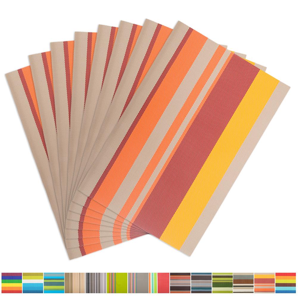 Aspire 8PCS Rainbow Stripe Placemats Heat Insulation-V Grey