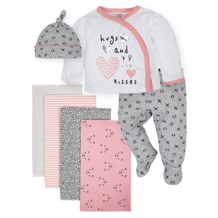 Gerber Organic Baby Girl Take Me Home Outfit Set & Blankets Bundle, 7pc