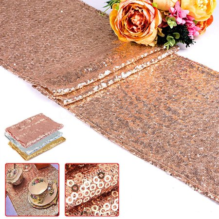 1/5/10pcs Rose Gold Sequin Table Runners, Sparkly Table Cloth Fabric Tablecloth Wedding Christmas Thanksgiving Event Banquet Decor Photography Background Backdrop Photo Studio (Christmas Linens Table Decor)