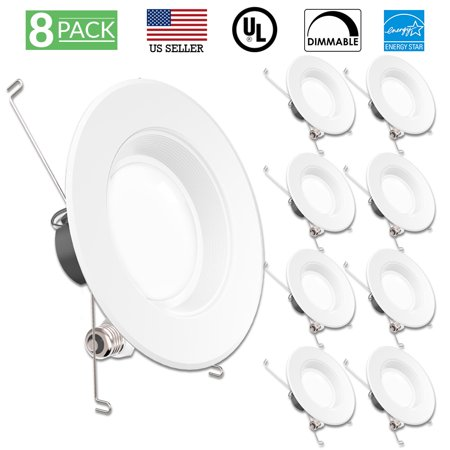Sunco Lighting 8 Pack 5 / 6 Inch Baffle Recessed Retrofit Kit LED Light Fixture, 13W (75W Replacement), 4000K Kelvin Cool White, 965 Lumen, Dimmable, Quick/Easy Can Install, Damp