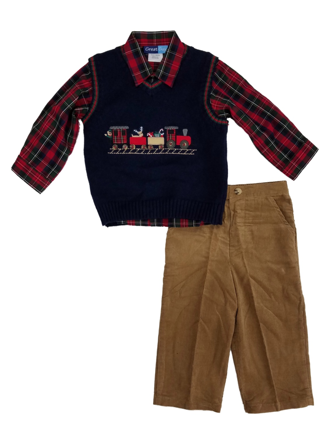 d4c107e38 Great Guy - Infant Boys 3pc Holiday Outfit Sweater Vest Plaid Shirt ...