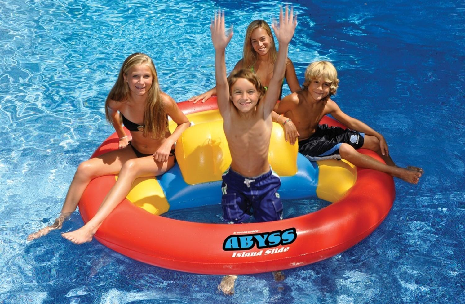 72� Water Sports Inflatable Floating Abyss Island Slide Swimming Pool Toy by Swim Central
