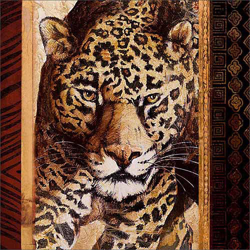 Close Up Safari Leopard Jungle Cat Tribal Pattern Painting Tan & Brown Canvas Art by Pied Piper Creative