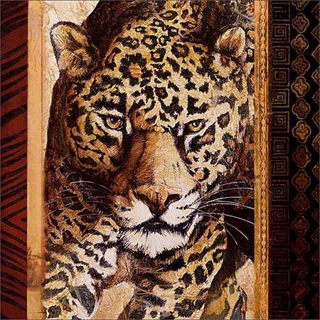 - Close Up Safari Leopard Jungle Cat Tribal Pattern Painting Tan & Brown Canvas Art by Pied Piper Creative
