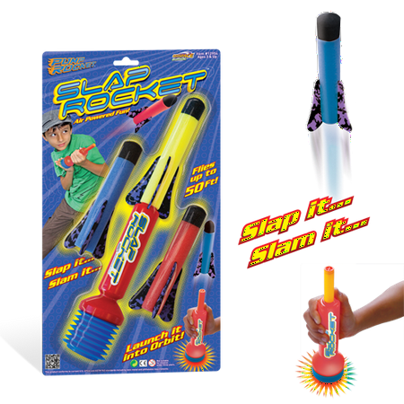 Multiple Rocket Launcher - The Original E-Z Launch SLAP ROCKET from Pump Rocket; Complete set of Launcher with 3-Rockets