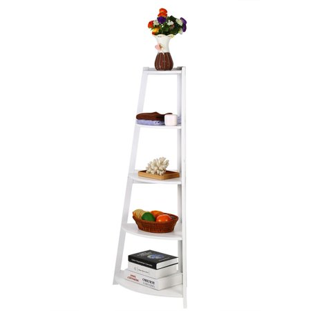 - Wooden White Modern 5-Tier Corner Ladder Shelf Bookshelf Storage Organizer Display Rack Stand,Corner Ladder Shelf, Ladder Display Rack