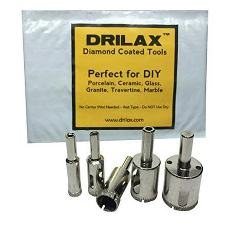 Ox Drill Set - Drilax 5 Pcs Diamond Drill Bit Set 3/8 inch , 1/2 inch  (0.5 In), 5/8 inch , 3/4 inch , 1 inch  Wet Use for Tiles, Glass, Fish Tanks, Marble, Granite, Ceramic, Porcelain, Bottles, Quartz